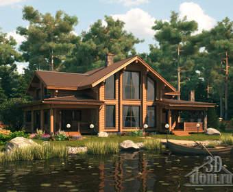 Проект загородного дома на берегу озера