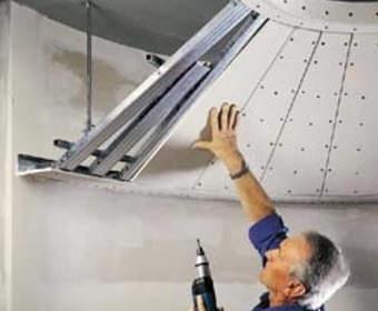 Двухуровневые подвесные потолки из гипсокартона: разметка, каркас, обшивка